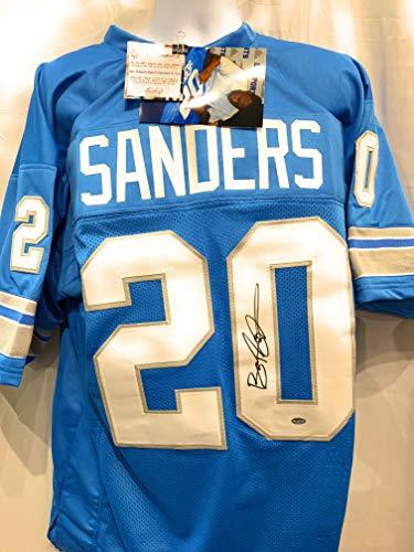 (Barry Sanders Detriot Lions Signed Autograph Custom Jersey Blue Schwartz Sports Certified)