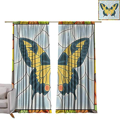 (berrly Thermal Insulated Blackout Curtains Butterflies,Butterfly in Stained-Glass Window with Frame Wing Spring Garden Illustration,Multicolor W96 x L84 Thermal Insulated Room Darkening Window Shade)