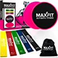 Premium Large Exercise Sliders and Resistance Bands; Workout Bands and Sliders Fitness are Dual Sided Use on Carpet or Hardwood Floor; Total Body Workout, Abdominal, Stretching, Yoga, Physical Therapy