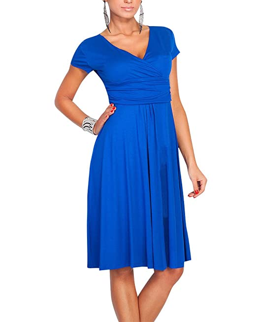 Moollyfox Mujer Vestido Estilo Jersey Corto Manga V-cuello Plisado Vestido de Corte Imperio Azul