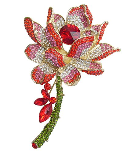 Anniversary Lily Bouquet (Sindary 4.13 Inch Gold-tone Red Rhinestone Crystal Water Lily Brooch)