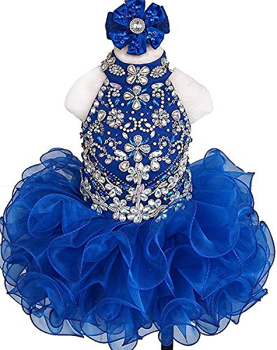 ANFF High Neck Ruffled Skirt Crystals Rhinestones Cupcake Pageant Gowns for Toddlers Royal Blue ()
