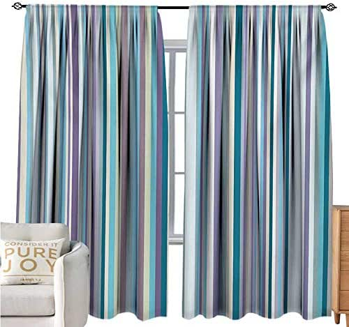 bybyhome AbstractWindshield curtainSimplistic Geometric Feature Vertical Straight Lines Soft Model Background PrintMildew-Proof Polyester Fabric W72 xL84 Multicolor