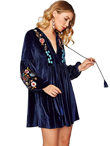 (Milumia Women's Tasseled Tie Bishop Sleeve Embroidery Velvet Sexy Dress Medium Navy-4)