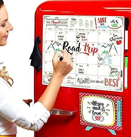 Dry Erase Magnetic Calendar Set/Large Refrigerator Board U0026 Groceries List  Kitchen Organizer For Busy