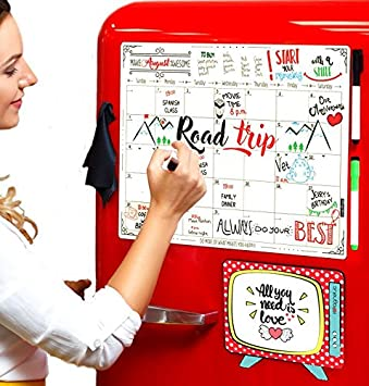 Dry Erase Magnetic Calendar Set/Large Refrigerator Board & Groceries List Kitchen Organizer for busy Moms/Monthly Planner Whiteboard with Gift Package