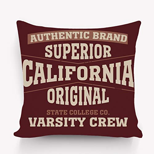 Rectangle Sofa Home Decorative Throw Pillow Case Cushion Cover Cotton Polyester Twin Side Printing 18 x 18 inches Los Angeles California Typography]()