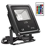 LE 10W RGB LED Flood Lights, Outdoor Color Changing LED Security Light, 16 Colors & 4 Modes with Remote Control, IP66 Waterproof LED Floodlight, US 3-Plug, Wall Washer Light
