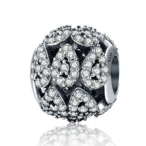 The Kiss Cascading Glamour Teardrop Clear CZ 925 Sterling Silver Bead Fits European Charm Bracelet