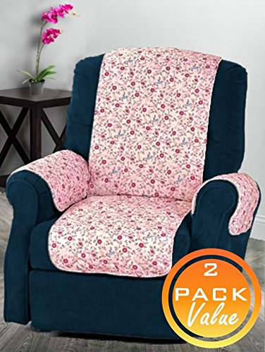 Amazon.com: ComfortFinds Quilted Chair Cover - (Pink Floral 2 Pack ...