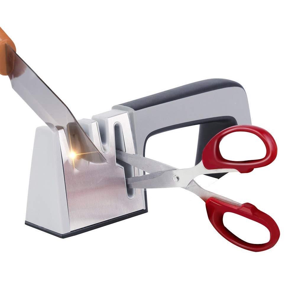 MARKKEER Kitchen Multifunctional Knife Sharpener & Scissors Sharpener, Professional 4 Stage Sharpening System, Suitable for All Size of Stainless Steel knives (Knife sharpener 4)