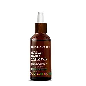 Haitian Black Castor Oil for Hair Growth Rosemary Mint by Kreyol Essence 3.4 oz (100 ml)