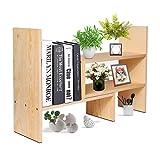 Flexzion Natural Wooden Desktop Shelf Wood Caddy Desk Organizer Set Office Storage Adjustable Expandable Tabletop Accessory Sorter Bookcase Display Stand Rack (Beige)
