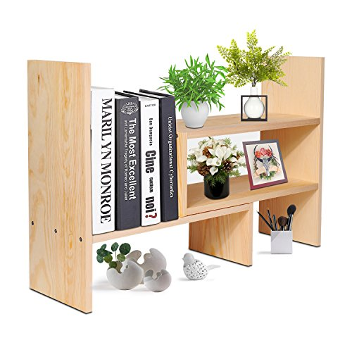 Flexzion Natural Wooden Desktop Shelf Wood Caddy Desk Organizer Set Office Storage Adjustable Expandable Tabletop Accessory Sorter Bookcase Display Stand Rack (Beige) - Expandable Desktop Stand
