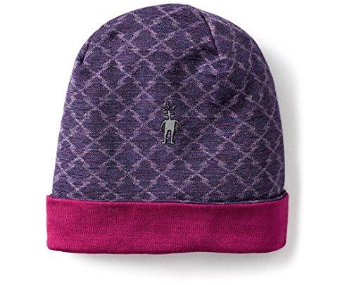 Purple Reversible Knit Beanie - Smartwool Kids' Merino 250 Reversible Pattern Cuffed Beanie (Mountain Purple Heather) Small/Medium