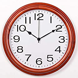 XJ&DD Large Round Classic Wood Wall Clock,Modern Silent Non Ticking Decor Wall Clock,Easy to Read Living Room Office School Wall Clock-e 17inch