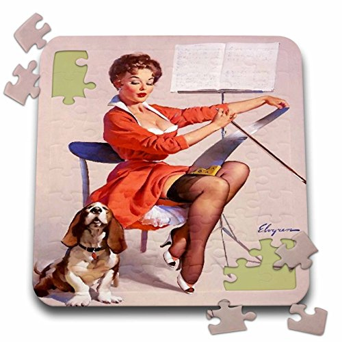 3dRose Florene - Retro Pinups - Print of Elvgren Pinup Plays While Dog Sings - 10x10 Inch Puzzle (pzl_204081_2) -