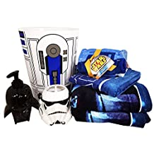 Star Wars Bathroom Set with 2 Bath Towels, 1 Hand Towel, 6 Washcloths, Toothbrush Holder, Soap Dispenser and a Wastebasket