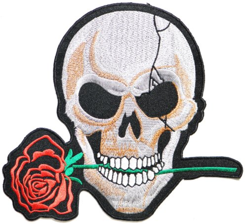 9.75 XXL Big Jumbo Large Red Rose Skull - Key Chains Grateful Dead
