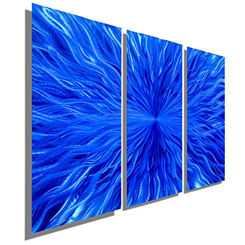 Blue Contemporary Metal Wall Art Sculpture - Three Panel Abstract Wall