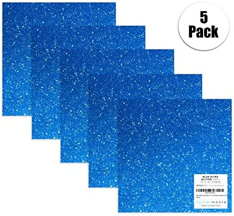 Hojas de vinilo con purpurina azul de 30,5 x 30,5 cm. Paquete de 5 adhesivos de vinilo para manualidades, Cricut Expression Explore, Silhouette Cameo, Signos, pegatinas de StyleTech (vinilo azul ultra brillante).: