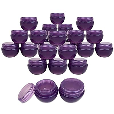 Beauticom 24 Pieces 10G/10ML Purple Frosted Container Jars with Inner Liner for Lotion, Toners, Lip Balm, Makeup Samples - BPA Free from Beauticom