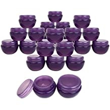 Beauticom 10G/10ML (24 Pieces, Dark Purple) Frosted Container Jars with Inner Liner for Scrubs, Oils, Salves, Creams, Lotions, Makeup Cosmetics, Nail Accessories, Beauty Aids - BPA Free