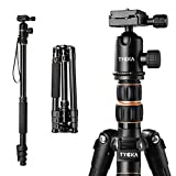 Tycka Aluminum Travel Tripod, 1410mm height and Load Capacity of 12kg, with 360° Panorama Ball head, features new leftwards flip-lock, for Canon, Nikon, Sony cameras and more