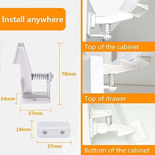 Marsheepy 10 Packs Safety Cabinet Locks,Child Baby Proofing Invisible Cupboard Drawer lcok with self Adhesive (White) by Marsheepy (Image #3)