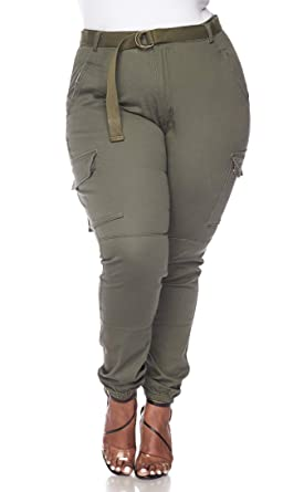 c538328c2d3 Image Unavailable. Image not available for. Color  Plus Size Belted Cargo  Jogger ...