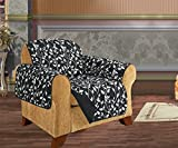 Quilted Pet Dog Children Kids Furniture Protector Slip Cover, Leaf Design Black Chair by Elegance Linen