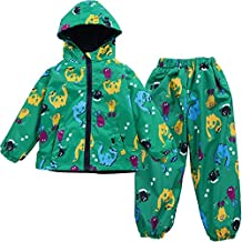 LZH Boys Waterproof Hooded Raincoat Jacket Dinosaur Coat+Pants Suit