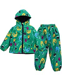 LZH Boys Waterproof Hooded Raincoat Jacket Dinosaur Coat+Pants Suit