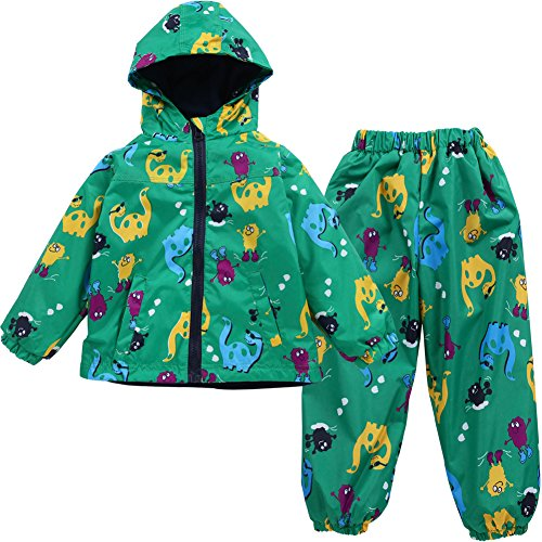 LZH Toddler Boys Girls Raincoat Waterproof Hooded Jacket Dinosaur Coat+Pants Suit