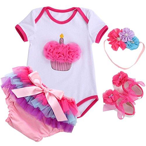 Baby Girl Clothes Short Dress Shoes 4 PCS Set;Unicorn Newborn Baby Costume Ensemble Bebe Fille ()