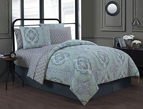 Avondale Manor Portofino 8-Piece Bed in a Bag Set, Queen/King, White/Mint (Portofino Comforter Set)