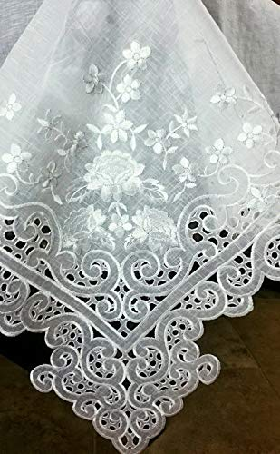 - Mikash 72x126 Embroidered Embroidery Sheer Organza Tablecloth w/Napkins Elegant Linen | Model TBLCLTH - 676