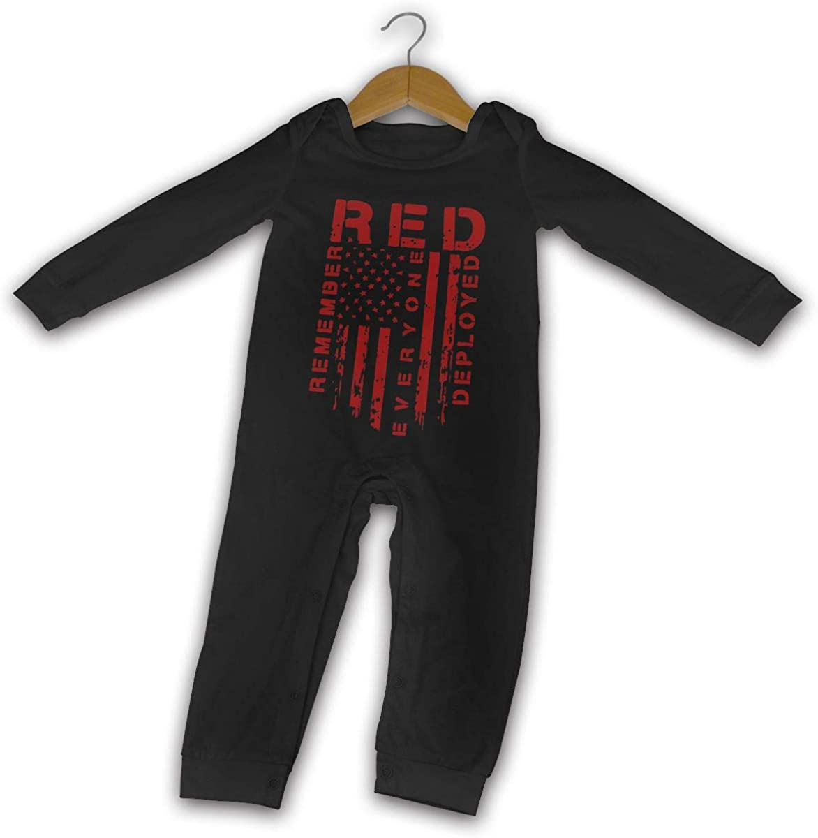 YELTY6F Remember Everyone Deployed Printed Baby Boys Girls Jumpsuit Long Sleeve Rompers Black