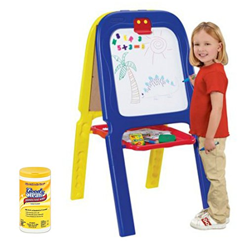 Crayola 3-in-1 Kids Double Drawing Easel with Magnetic Letters, Crayola, and Crayola Eraser with Surface Cleaner Disinfectant Wipes (Stamp Foam Chunky)