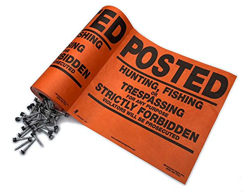 Tyvek Posted No Trespassing signs by Minuteman 25 count with aluminum nails (Orange) (Sign Tyvek)