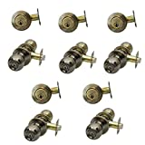 5 Sets of NuSet Fremont(US5) Keyed Alike Entry Door Knob/Single Cylinder Dead Bolt Combo in Antique Brass, Keyed Same
