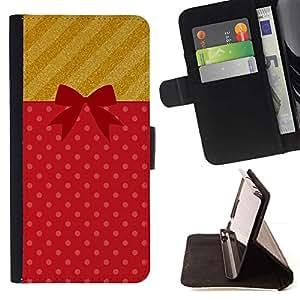 For Apple Apple iPhone 4 / iPhone 4S Case , Pajarita Waffle Lunares Rojo- la tarjeta de Crédito Slots PU Funda de cuero Monedero caso cubierta de piel