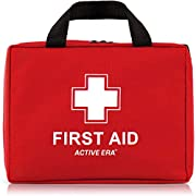 220 Piece Premium First Aid Kit Bag – Includes Eyewash, 2 x Cold (Ice) Packs and Emergency Blanket for Home, Office, Car…