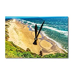 Lantern Press Florence, Oregon - Beach Coastline Waves on The Pacific Ocean A-9005473 (Acrylic Wall Clock)
