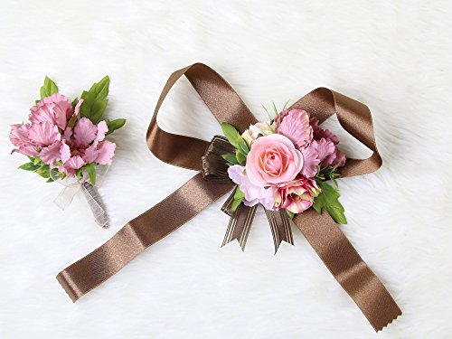 Wedding Prom Wrist Corsage Silk rose and Boutonniere Set Pin Ribbon Included (Pink Brown Theme)