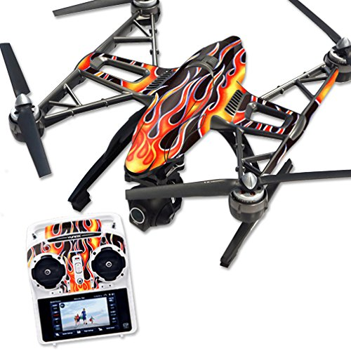 MightySkins Protective Vinyl Skin Decal for Yuneec Q500 & Q500+ Quadcopter Drone wrap Cover Sticker Skins Hot Flames