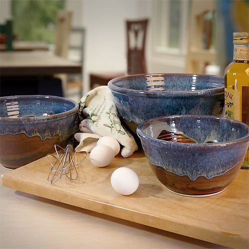 Stoneware Pottery 3-Piece Large Nesting Mixing Bowl Set, Earthy Blue Color