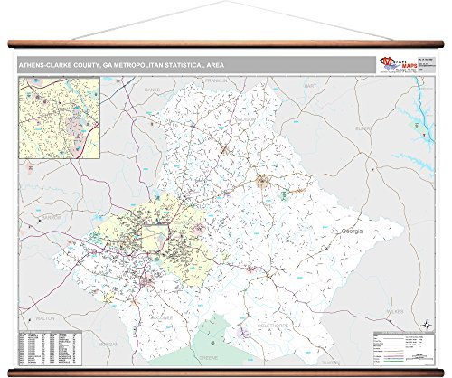 MarketMAPS Athens-Clarke County, GA Metro Area Wall Map - 2018 - ZIP Codes - Laminated with Wooden Rails - 64W x 48H inches (Athens Clarke County Ga)