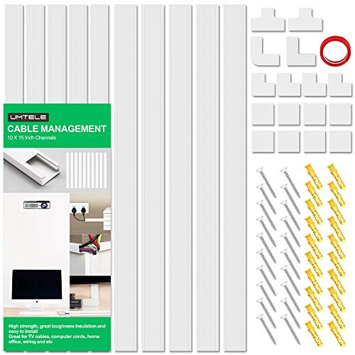 [2019 Upgrade] Cable Management System for Wall Mounting TV, 150 inch Cable Raceway Kit, UMTELE Paintable Concealer Cord Covers for Desks, Offices and Kitchens - 10X L15in, W1.18in, H0.59in