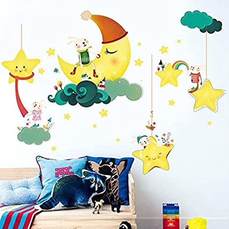 Decals Design 'Cute Cartoon Moon Stars Clouds with Rabbit Family' Wall Sticker (PVC Vinyl, 60 cm x 90 cm)
